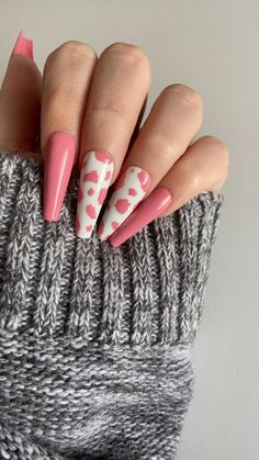 Acrylic Nails Coffin Short, Simple Acrylic Nails, Best Acrylic Nails, Coffin Nails, Summer Acrylic Nails, Cow Nails, Nagellack Design, Fire Nails, Heart Nails