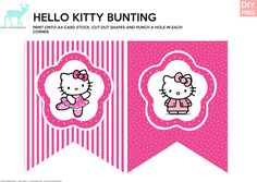 DIY FREE Hello Kitty Bunting - JustLoveDesign Hello Kitty Theme Party, Hello Kitty Themes, Hello Kitty Cake, Hello Kitty Birthday, Cat Party, Party Kit, Happy Birthday Banners, Diy Birthday, Hello Kitty Wallpaper
