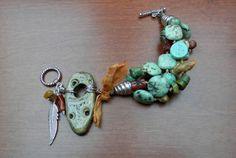 Turquoise, Amber, Misc. semi precious stone bracelet with handmade focal by Staci Louise Originals.