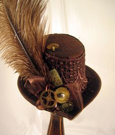 Steampunk Brown Mini Tophat with Clock parts and brown ostrich plume 3b37000b37f1