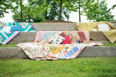 Add seating to the amphitheater or hay bales with Southern Vintage quilts