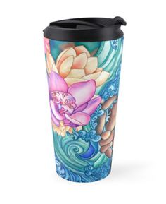 """""""Orchid Splash"""" Travel Mugs by PolkaDotStudio 