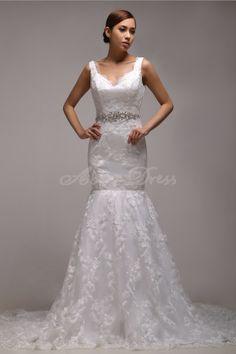 Elegant Straps, Sweetheart Satin, Lace Chapel Train Wedding Dresses Ivory