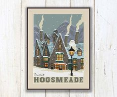 Hogsmeade Cross Stitch Pattern, Hogwarts School Pattern, Harry Potter Pattern, Modern Cross Stitch Pattern, Download PDF #hp016  This pattern uses 17 DMC colours. Floss: DMC. Fabric: 14 count White Aida.  Design Area: 128w х 176h Stitches. Area of embroidered image: 14 Count: 9,1 x