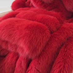 Red fur faux