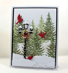Come see how I made this lamp post Christmas card.    Card Making Ideas | Paper Crafts | Handmade Greeting Cards | Christmas Cards.    Click on the picture if you would like to see how I made this card.