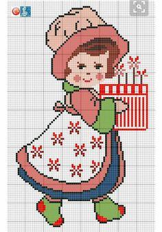 Grille inspiration Sarah Kay / Designed by Filiz Türkocağı. Cross Stitching, Cross Stitch Embroidery, Cross Stitch Patterns, Cross Stitch For Kids, Cross Stitch Baby, Corner To Corner Crochet, Beaded Cross, Plastic Canvas Patterns, Hobbies And Crafts