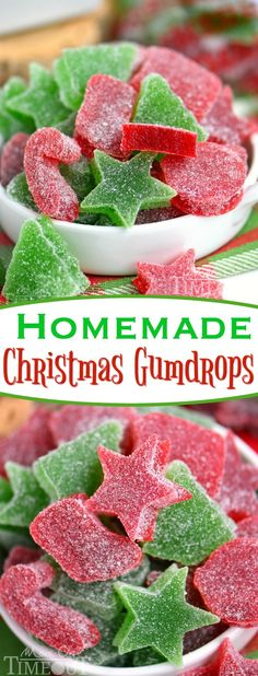 These Homemade Gumdrops are the perfect treat to make for friends and family during the holidays! Made with just a handful of ingredients – including applesauce – these gumdrops are sure to become a holiday tradition! A Christmas favorite with our family! Holiday Snacks, Christmas Snacks, Christmas Cooking, Holiday Cookies, Holiday Recipes, Homemade Christmas Candy, Family Christmas, Diy Christmas, Christmas Treats To Make
