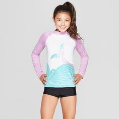 c80011b6da Girls' Mermaid Tail Long Sleeve Rash Guard - Cat & Jack™ White S