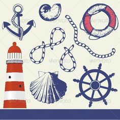 Illustration of Vintage marine elements set vector art, clipart and stock vectors. Ship Wheel Tattoo, Lighthouse Drawing, Traditional Hand Tattoo, Photo Pillows, Decoration, Retro, Vector Art, Graphic Art, Graphic Design