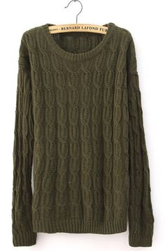 Euro Style Army Green Cloting Ladies Long Sleeve Round Neck Slim Knitting Sweater One Size @ II1007agr