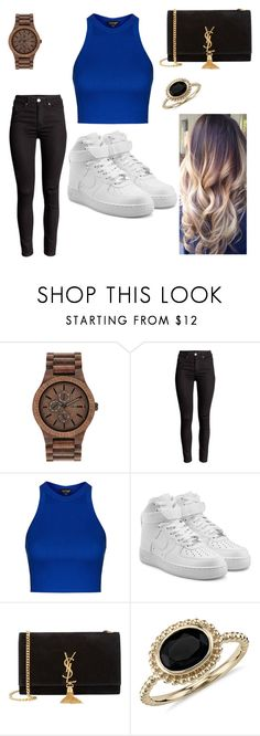 """""""Wood-n-blue"""" by kayleighmw on Polyvore featuring WeWood, Topshop, NIKE, Yves Saint Laurent and Blue Nile"""