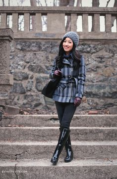 ExtraPetite.com - Winter blues: Knit cap   wool plaid