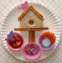 Many cute lunch ideas for boys & girls – A birdhouse shaped sandwich made with a pink bird pick & pretzel sticks/Strawberries with a purple bird pick/Pink & purple m's/Carrot sticks with dip in a plastic shot glass