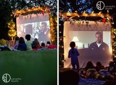 DIY outdoor cinema- wouldn't this be great for when the grandkids come over on a summer evening....