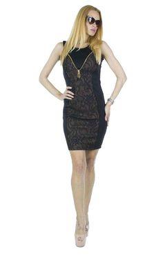 Rochie Dama Rene  Rochie dama confectionata dintr-un material elastic, ce se muleaza frumos pe corp. Design modern ce poate fi purtat cu usurinta la diferite evenimente.  Detaliu - insertie fina de broderie pe fundal maro, fermoar auriu in fata de efect.     Latime talie: 35cm  Lungime: 90cm  Compozitie: 90%Vascoza, 10%Elasten Black, Dresses, Fashion, Vestidos, Moda, Black People, Fashion Styles, Dress, Fashion Illustrations