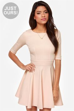 """Lulus Exclusive! The Just a Twirl Blush Pink Dress wants you to stop standing still and start spinning! Stretchy knit is thick enough to wear on a chilly day as it hugs your curves down half sleeves and a fitted bodice with a rounded neckline and unique seam details. A banded waist is just the beginning of a full skirt that flares to twirl-worthy perfection. Hidden back zipper. Unlined. Model is 5'10"""" and is wearing a size x-small. Shell: 65% Rayon, 30% Nylon, 5% Spandex. Hand Wash Cold."""