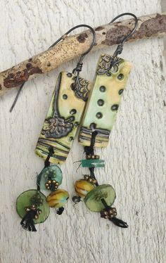 by Sheri Mallery, Primitive Tribal Earthy Rustic Earrings by SheriMalleryHandwork.etsy.com