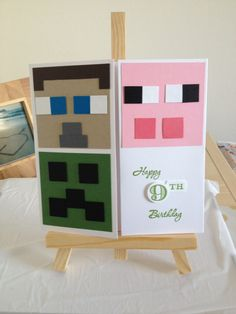 Minecraft birthday card Minecraft Cards, Minecraft Birthday Card, Birthday Cards For Boys, Bday Cards, Handmade Birthday Cards, Punch Art Cards, Scrapbook Cards, Scrapbooking, Kids Cards