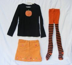 Halloween Outfit for Girls, Gymboree, Black top pumpkin, Orange Skirt, 3 pcs