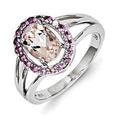 Sterling Silver Morganite & Pink Sapphire Oval Ring