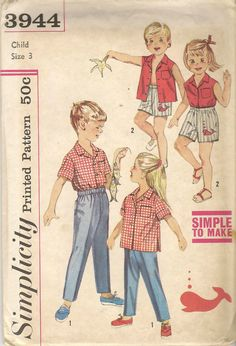 Vintage Simplicity 3944 Childs Shirt Boxer Shorts by BitsNPieces88
