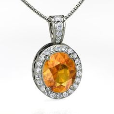 Oval Halo Pendant, Oval Citrine White Gold Necklace with Diamond from Gemvara