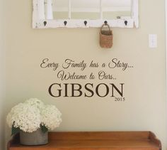 Family Wall Decal- Every Family has a Story- Welcome to Ours-Personalized Name with Est. Date-Vinyl Wall Decal Personalized Wall Quote by landbgraphics on Etsy