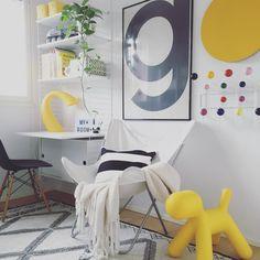 Keltainen väri antaa kivan piristysruiskeen lastenhuoneen sisustukseen