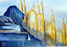 """"""" il Duomo e il leone """" acquerello di Lorenza Pasquali 30x45 N.D. www.lorenzapasquali.it"""