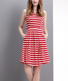 Reborn Collection Red & White Stripe Sleeveless Fit & Flare Dress - Women | zulily