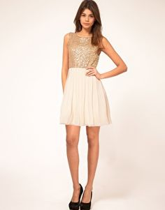 Enlarge TFNC Babydoll Dress with Sequin Bodice