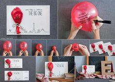 Handgeschreven berichtje op een ballon en met een leuke kaart erbij! #diy Message Balloon Card
