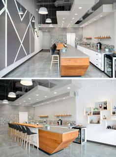 Interior designer Pauline Lin has recently completed Faebrew, a modern coffee shop that serves hand poured coffees in an environment made of felt, wood, engineered stone, concrete floors and white walls.