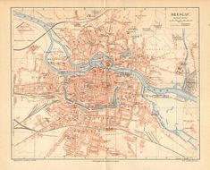 1893 Original Antique Map of Breslau  Wroclaw as Part of the