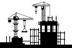 Construction Site with Tower Cranes Graphics ZIP include 4 AI, 4 EPS and 4 hi-resolution JPG files by Crane Construction, Construction Business, Construction Design, Save Earth Drawing, Crane Drawing, Construction Birthday Parties, Office Art, Paint Markers, Business Card Logo