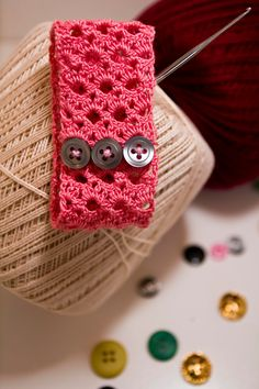 Light Pink Crochet Bracelet with Three Charcoal Buttons. $20.00, via Etsy.