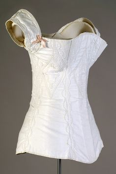 White cotton corded and stitched corset, American, ca 1830s, KSUM 1995.17.1345.