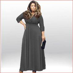 Sexy Summer Women Dress Maxi Dress Solid V-neck Three Quarter Sleeve  Elegant Evening Party Tallas Grandes Dress Plus Size 652af27879ca