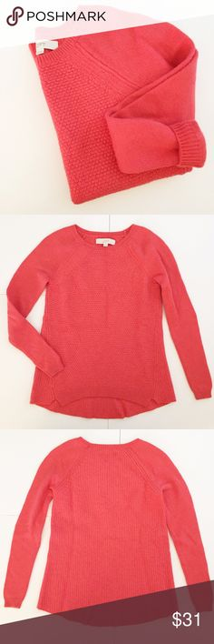 """LOFT Coral Knit Sweater- Merino Wool Blend Coral (orange pink) patterned & textured Knit Sweater from LOFT! Has a round neck and a flared fit at the hem. Long sleeves. Bottom hem is slightly rounded on the front side. Front length 24 1/2"""", back length 25 1/2"""", 16"""" pit to pit, sleeves 18 1/4"""" long. 39% Merino Wool, 32% rayon, 29% nylon. Some wear/pilling (mostly from wool) but otherwise good condition! NO TRADES. LOFT Sweaters Crew & Scoop Necks"""