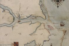 Roanake Island ~ Riddle in invisible ink: The map (left) of Roanoke Island in North America drawn by John White during an attempt to create England's first colony reveals a hidden possible location for the settlement when it was illuminated from underneath (right) in recent tests. The colony disappeared in mysterious circumstances in the 1580s ...