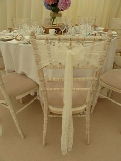 Venue Dressing- Simple Elegant Ivory Lace Sashes