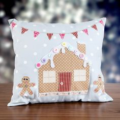 Gingerbread cushion! Shop The Owl and The #Sewing Cat gingerbread house kit now at C+C: http://www.createandcraft.tv/pp/owl-sewing-cat-gingerbread-h-347045?referrer=search&fh_location=//CreateAndCraft/en_GB/$s=347045 #sew #christmas