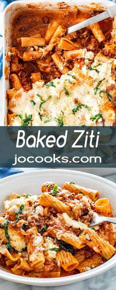 easy comfort food This Baked Ziti is a classic Italian-American comfort food! It's easy to make, perfect for a weeknight meal or a special occasion. Tender pieces of ziti noodles, delicious meat sauce, three different kinds of cheese, you can't go wrong! Pasta Recipes, Beef Recipes, Vegetarian Recipes, Cooking Recipes, Dinner Party Recipes, Dinner Entrees, Classic Italian Dishes, Lotsa Pasta, Baked Ziti