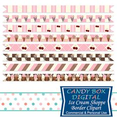 Ice Cream Ribbon Borders by CandyBoxDigital. Great for digital scrapbooks and journals, blogs and websites, graphic designs, invitations, and all kinds of paper craft applications. At our Etsy shop.