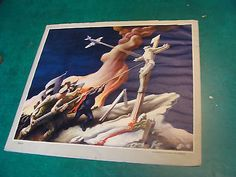 Original WWII Poster by THOMAS HART BENTON called AGAIN, c. 1941 SCARCE 21 x 23