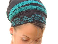 Sara Attali designed sinar tichel on Etsy - beautiful black and turquoise lace and floral trim