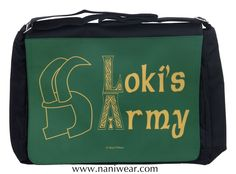 "Loki Messenger/Laptop Bag: Loki's Army  Fits a 15"" laptop, with plenty of pockets for cords and peripherals."