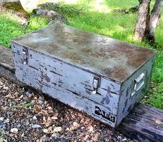 Metal Trunk Toolbox Industrial Toy Box by MakingMidCenturyMod