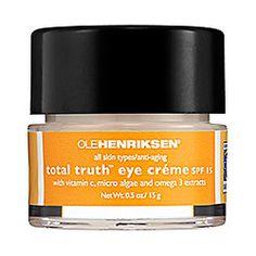 Sephora: Ole Henriksen : Total Truth™ Vitamin C Eye Crème SPF 15 : eye-cream-dark-circles with peptides, retinoid Sephora, Homemade Eye Cream, Eye Cream For Dark Circles, Firming Eye Cream, Ole Henriksen, Best Eye Cream, Bright Skin, Puffy Eyes, Facial Toner